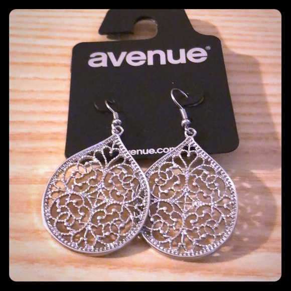 Avenue Jewelry - Pair of silver tone dangle earrings from Avenue